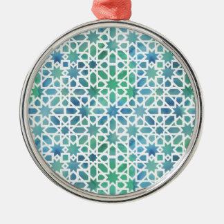 Spanisches Aquarell-Mosaik Silbernes Ornament