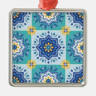 spanisches Fliesen Muster Sonne & Meer Silbernes Ornament