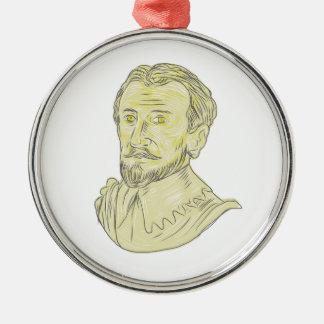 Spanisches Forscher-Fehlschlag-Zeichnen des 15. Silbernes Ornament