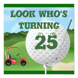 Spaß-Golf-25. Geburtstags-Einladungen Quadratische 13,3 Cm Einladungskarte