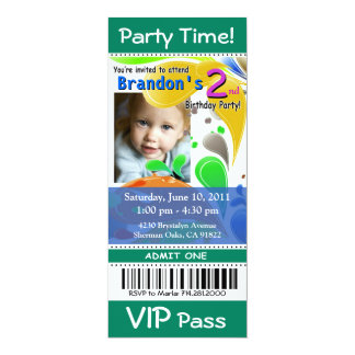 Spaß-Kind-VIP-Durchlauf-Ereignis-Karten-Foto-Party 10,2 X 23,5 Cm Einladungskarte