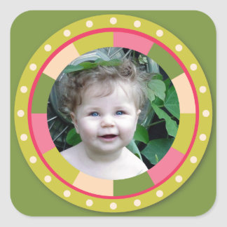 Spaß-Kreisrahmen - rosa Blatt auf Grün Quadrataufkleber