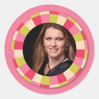 Spaß-Kreisrahmen - rosa Blatt auf Rosa Runde Aufkleber