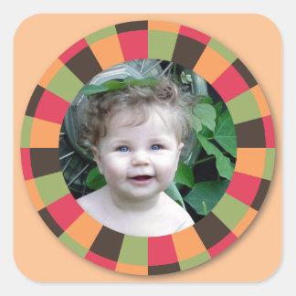 Spaß-Kreisrahmen - Sonnenuntergangblatt auf Hellor Quadrataufkleber