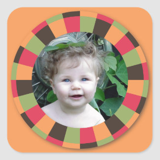 Spaß-Kreisrahmen - Sonnenuntergangblatt auf Orange Quadrataufkleber