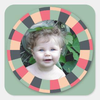 Spaß-Kreisrahmen - Vintage Süßigkeit - Grün Quadrataufkleber