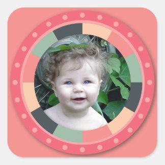 Spaß-Kreisrahmen - Vintage Süßigkeit - pink2 Quadrataufkleber