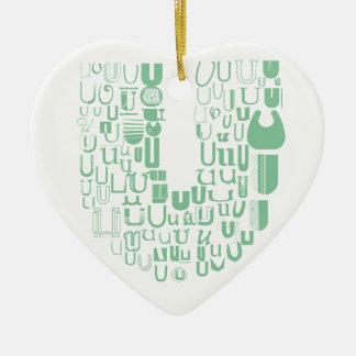 Spaß mit Schriftart U Keramik Herz-Ornament