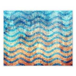 Spaß-psychedelisches Blau und Goldwellen-Muster Kunstphotos