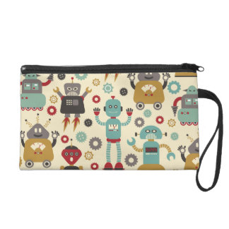 Spaß-Retro Roboter-illustriertes Muster (Creme) Wristlet Handtasche