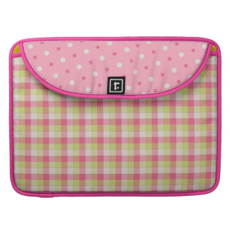 Spaß-rosa karierte Polka-Punkte Macbook Prohülse Sleeve Für MacBooks