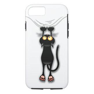Spaß-schwarze Katze, die unten fällt iPhone 8/7 Hülle