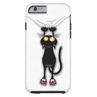 Spaß-schwarze Katze, die unten fällt Tough iPhone 6 Hülle