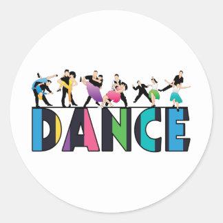 Spaß u. bunter gestreifter Tänzer-Tanz Runder Aufkleber