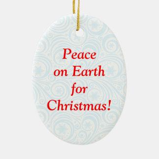 """Spaß Weihnachtsmann u. Rudolph""""Weltfrieden"""" Keramik Ornament"""