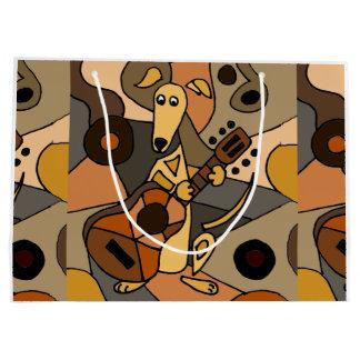 Spaß-Windhund-Hund, der Gitarren-moderne Kunst Große Geschenktüte