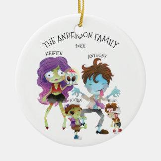 Spaß-Zombie-Familie Verzierung der Weihnachten4 Keramik Ornament