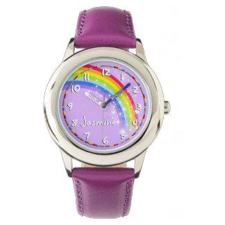 Spaßmädchen-Regenbogenlila Namensarmbanduhr Armbanduhr