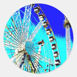 Spaßmesse im Amsterdam-Riesenrad und im hohen Turm Runder Aufkleber