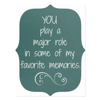 Spezielles Leute-und Lieblings-Erinnerungens-Zitat Postkarte