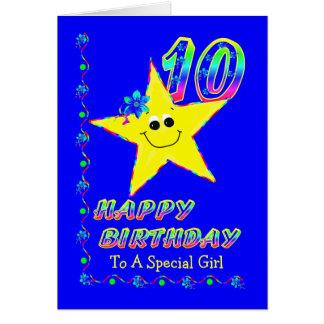 Spezielles Mädchen 10. Brithday Sterne Grußkarte