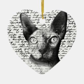 Sphynx Katze Keramik Herz-Ornament
