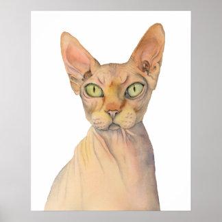 Sphynx Katzen-Aquarell-Porträt Poster