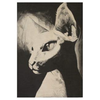 Sphynx Katzen-Schwarz-weißer Kontrastunbehaarte Holzposter