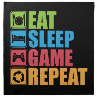 Spiel - essen Sie, schlafen Sie, Spiel, Stoffserviette