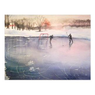 Spielen auf Eis Postkarte