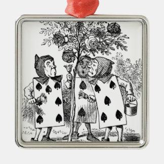 Spielkarte-Bedienstete Quadratisches Silberfarbenes Ornament