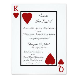 Spielkarte-König/Königin Save the Date 10,8 X 14 Cm Einladungskarte