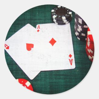 Spielkarten u. Poker-Chipsgrunge-Art Runder Aufkleber