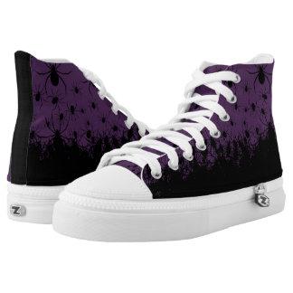 Spinne plagte creepy goth dunkle lila hohe Spitzen Hoch-geschnittene Sneaker