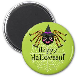 Spinnen-Hexe glückliches Halloween Runder Magnet 5,1 Cm