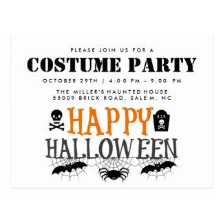 Spinnen und Schädel-Halloween-Kostüm-Party laden Postkarte