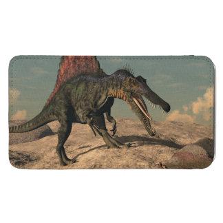 Spinosaurus Dinosaurier, der eine Schlange jagt Handytasche