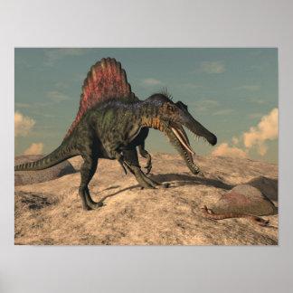 Spinosaurus Dinosaurier, der eine Schlange jagt Poster
