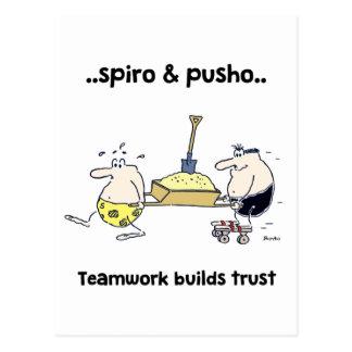 Spiro u. Pusho Teamwork-Zitat-Cartoon-Postkarte Postkarte