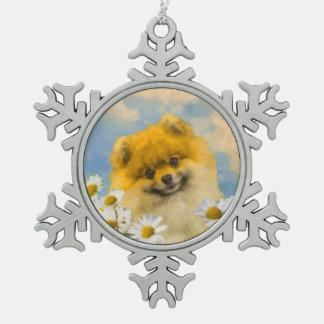 Spitz in den Gänseblümchen Schneeflocken Zinn-Ornament
