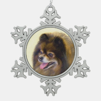 Spitz (Schwarzes und TAN) Schneeflocken Zinn-Ornament