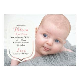 Spitze-Foto-Geburts-Mitteilung | einfach und 12,7 X 17,8 Cm Einladungskarte