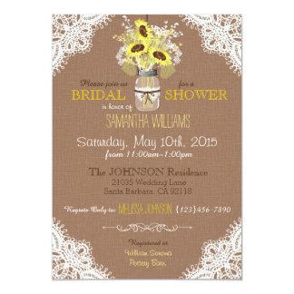 Spitze-Maurer-Glas-Sonnenblume-rustikales 12,7 X 17,8 Cm Einladungskarte