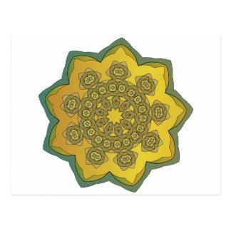 Spitzegoldgelb-Blumenverzierung GRÜN Postkarte