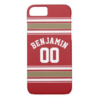 Sport-Jersey-Rot und Goldstreifen-Namenszahl iPhone 8/7 Hülle