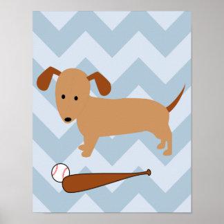 Sport und Welpen-Baseball-Themed Kinderzimmer Poster