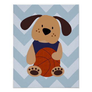 Sport und Welpen-Basketball-Themed Kinderzimmer Poster