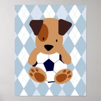 Sport und Welpen-Fußball-Themed Kinderzimmer Poster