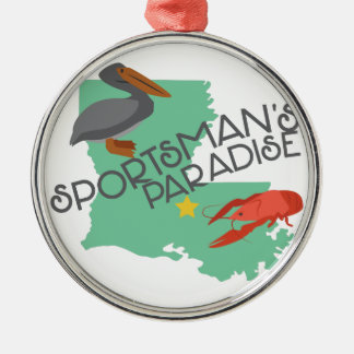 Sportmans Paradies Rundes Silberfarbenes Ornament