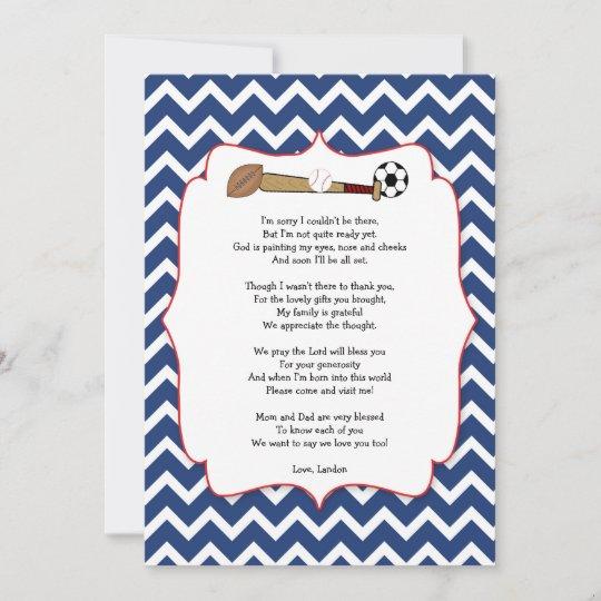 Sportthema Babyparty Geschenk Gedicht Danken Ihnen Dankeskarte